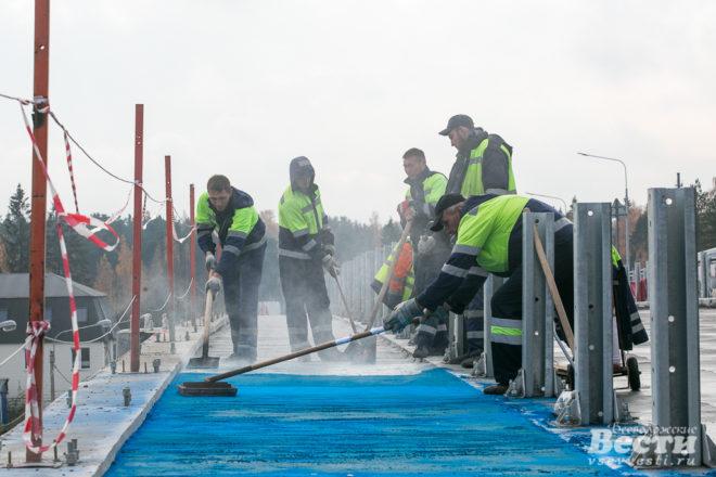 Всеволожский виадук «закатают» 36 тоннами цветного асфальта